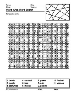 Mardi Gras Word Search Printable Worksheet