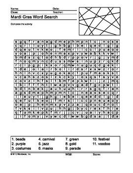 Mardi Gras Word Search Printable Worksheet