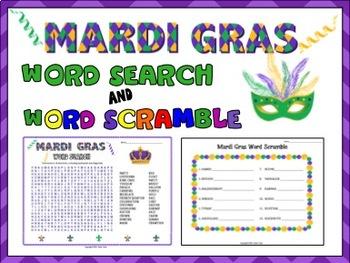 Mardi Gras Word Search and word Scramble