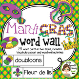 Mardi Gras Word Wall (includes word list and word wall act