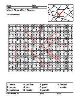 Mardi Gras Worksheets and Printables