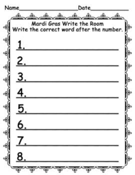 Mardi Gras Write the Room Activity