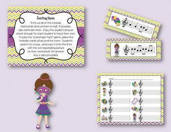 Mardi Gras - Write-the-Room BUNDLE!  5 Melodic (notation) Scavenger Hunt Games!