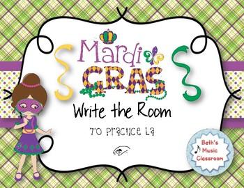 Mardi Gras Write-the-Room, Melodic Scavenger Hunt - Practice La, 3-line staff