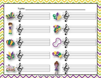 Mardi Gras Write-the-Room, Melodic Scavenger Hunt - Practice Pentatonic Melodies