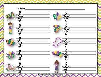 Mardi Gras Write-the-Room, Melodic Scavenger Hunt - Practice So-Mi