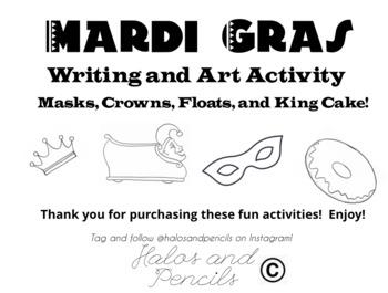 Mardi Gras Bulletin Board Writing, Crowns, Masks, and Floats!