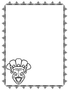 Mardi Gras Writing Paper - 3 Styles - Black and White
