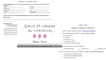 Mardi Gras and Carnaval Novice Mid/High Reading and Listening Activity