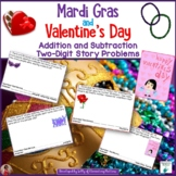 Mardi Gras and Valentine's Day Addition and Subtraction Story Problems