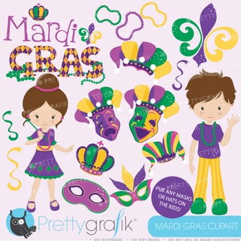 Mardi Gras clipart commercial use, vector graphics, digital - CL640