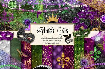 Mardi Gras digital scrapbooking kit, clipart and graphics