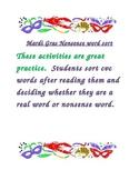 Mardi Gras nonsense word sort