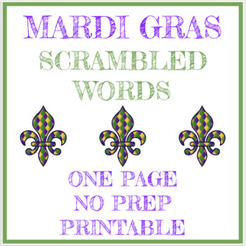 Mardi Gras scrambled words worksheet