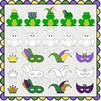 Mardi gras clip art set. Color and B&W. PNG Files.