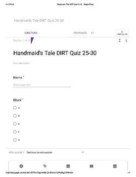 Margaret Atwood's The Handmaid's Tale Chapters 25-30 Comprehension Quiz