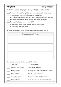"Margaret Frith ""Who Was Thomas Alva Edison?"" worksheets"