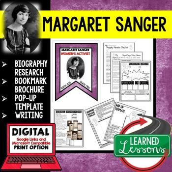 Margaret Sanger Biography Research, Bookmark Brochure, Pop-Up, Writing
