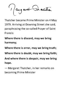 Margaret Thatcher Handout