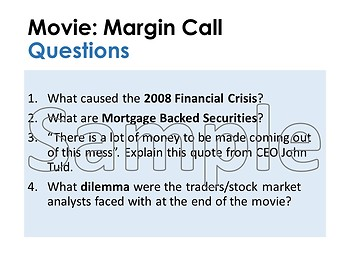 Margin Call Business Movie Questions