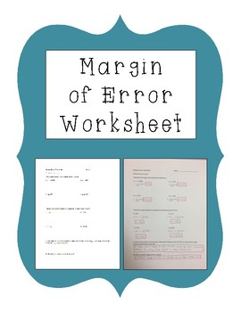 Margin of Error Worksheet