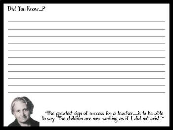 Maria Montessori Writing Paper