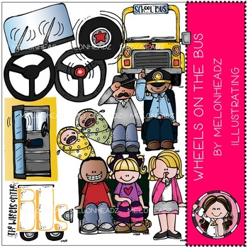 Wheels on the Bus clip art - COMBO PACK- by Melonheadz
