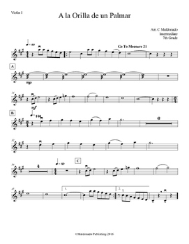Mariachi: A la Orilla de un Palmar-Intermediate Violin I