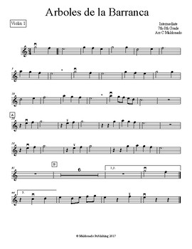 Mariachi: Arboles de la Barranca Intermediate Violin 1