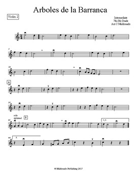 Mariachi: Arboles de la Barranca Intermediate Violin 2