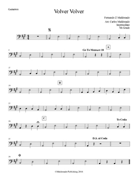 Mariachi: Volver Volver-Intermediate Guitarron