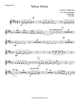 Mariachi: Volver Volver-Intermediate Trumpet I