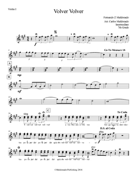 Mariachi: Volver Volver-Intermediate Violin I