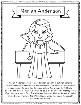 Marian Anderson Biography Coloring Page Craft or Poster, African ...