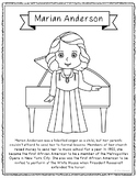 Marian Anderson Biography Coloring Page Craft or Poster, A