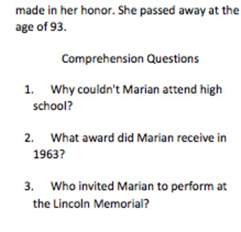 Marian Anderson Informational Text and Comprehension Questions