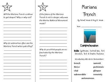 Mariana Trench Trifold - Into Reading 4th Grade Module 6 Week 1