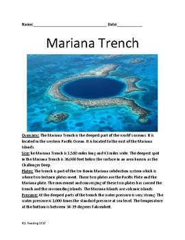 Mariana Trench - deepest part of the ocean - review article facts lesson