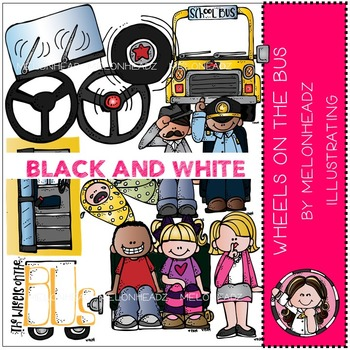 Wheels on the Bus clip art - BLACK AND WHITE- by Melonheadz