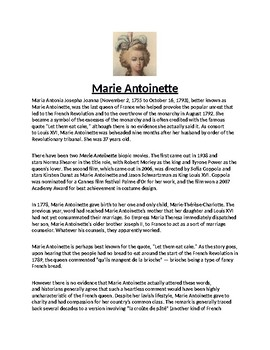 Marie Antoinette Biography Article and Assignment Worksheet