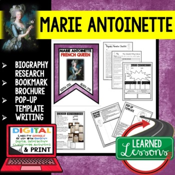 Marie Antoinette Biography Research, Bookmark Brochure, Pop-Up, Writing