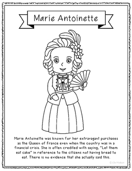 Marie Antoinette Coloring Page Craft or Poster with Mini Biography, France