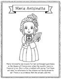 Marie Antoinette Coloring Page Craft or Poster with Mini B