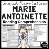 Marie Antoinette Biography Reading Comprehension; French Revolution