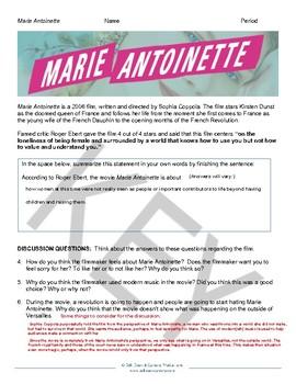 Marie Antoinette Movie Activities Plus Powerpoint Introduction