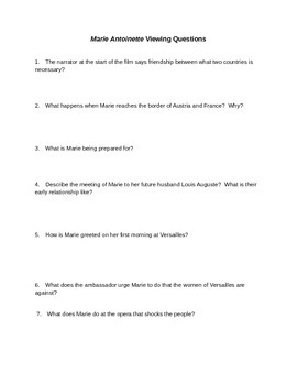 Marie Antoinette Movie Questions