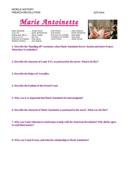 """""""Marie Antoinette"""" Movie Study Guide Questions"""