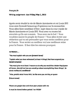 Marie Antoinette writing assignment FRENCH