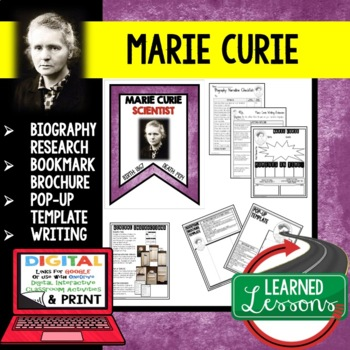 Marie Curie Biography Research, Bookmark, Pop-Up, Writing