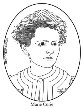 Marie Curie Clip Art Coloring Page Or Mini Poster By Cordial Clips Thomas Christmas